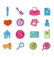 Social color media type cartoon icon network vector