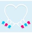 Birds with speech bubble heart vector