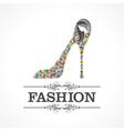 Beauty and fashion icon with shoe and face vector