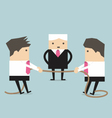 Businessman pulling rope tug of war in business vector