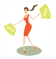 Girl runs with purchases vector