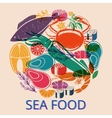 Seafood graphic with various fish and shellfish vector