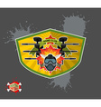Paintball logo shield with wings emblem mortal vector