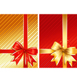 Golden ribbon red ribbon two images vector