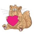 Cat sitting with heart in his paws vector