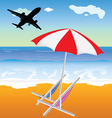 Beach with umbrella and chair and plane vector