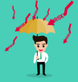 Businessman holding umbrella protect risk vector