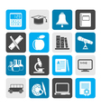 Silhouette education and school objects icons vector