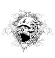 Skull with floral and grunge vector