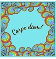 Positive postcard with carpe diem and rainbow vector