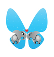 Elephants in love butterfly vector