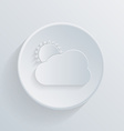 Paper circle flat icon sun behind the cloud vector
