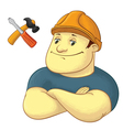 Worker with hardhat helmet vector