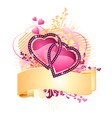 Love hearts with banner vector