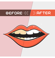 Retro mouth - cleaning teeth symbol vector