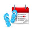Calendar with flip flops vector