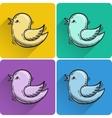 Set of drawn flying bird icon vector
