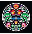 Polish floral embroidery with roosters - folk vector