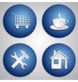 Set of round blue site icons with paper cut image vector