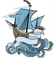 Marine emblem ship going over the waves vector