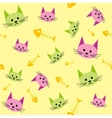 Seamless background with funny cats vector