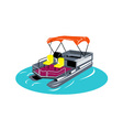 Pontoon boat retro vector