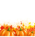 Orange with blobs autumn leafs and pumpkins vector
