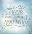 Positive inspirational life quote on blue blurred vector