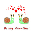 Two funny cartoon snails with hearts vector