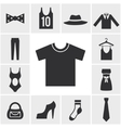 Various monochrome clothing themed graphics vector