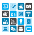 Silhouette graphic and website design icons vector
