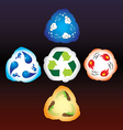 Four elements as recycle signs vector