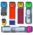 Trucks collection top view vector