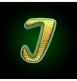 Golden and green letter i vector