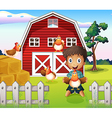 A boy playing with his farm animals vector