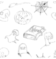 Halloween doodles seamless pattern vector