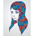 Abstract girl portrair with floral ornament vector