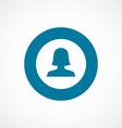 Female profile bold blue border circle icon vector