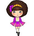 Irish dancing girl in violet traditional dress vector