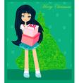 Beautiful girl with gift box - christmas postcard vector