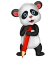 Cute panda bear cartoon holding red pencil vector