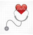 Stethoscope hold heart with heartbeat vector