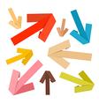 Paper arrows set in retro colors vector