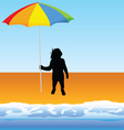 Baby with umbrella on the beach vector