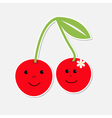 Cartoon cherries with happy faces card vector