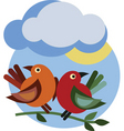 Birds under cloud vector