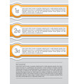 Orange and white rounded infographic lables vector