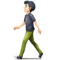 A man in grey shirt walking vector