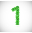 Numeral one made up of green leaves vector