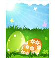 Easter eggs in the spring meadow vector